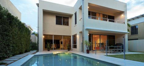 Luxurious modern house with swimming pool and backyard